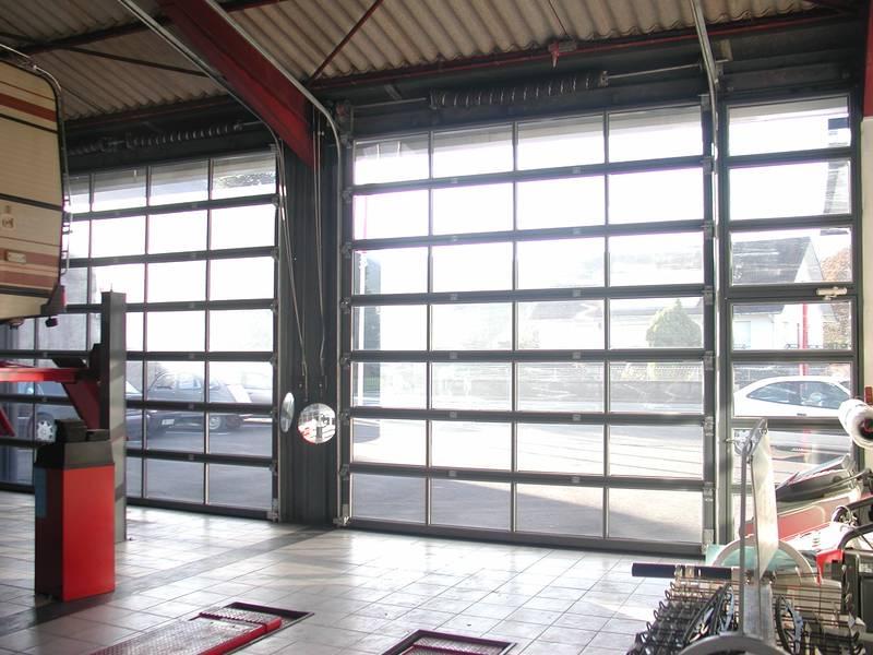 Porte sectionnelle double vitrage polycarbonate clair